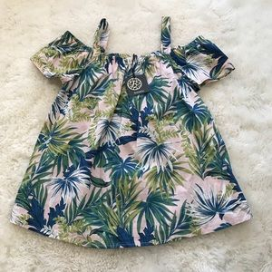Bobeau Palm Print Blouse